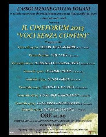 Cineforum a Lipari da 25 gennaio