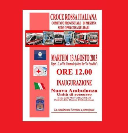 Nuova ambulanza per la CRI di Lipari