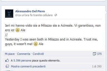 """Del Piero su facebook: """" non ero io """""""