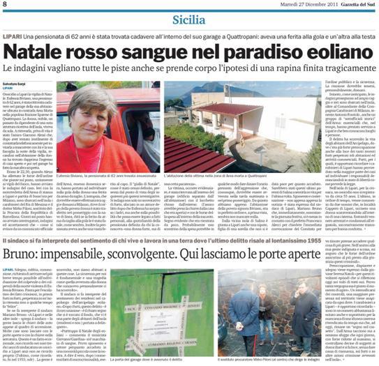 """Sulla Gazzetta il """"Natale rosso sangue"""" di Lipari"""