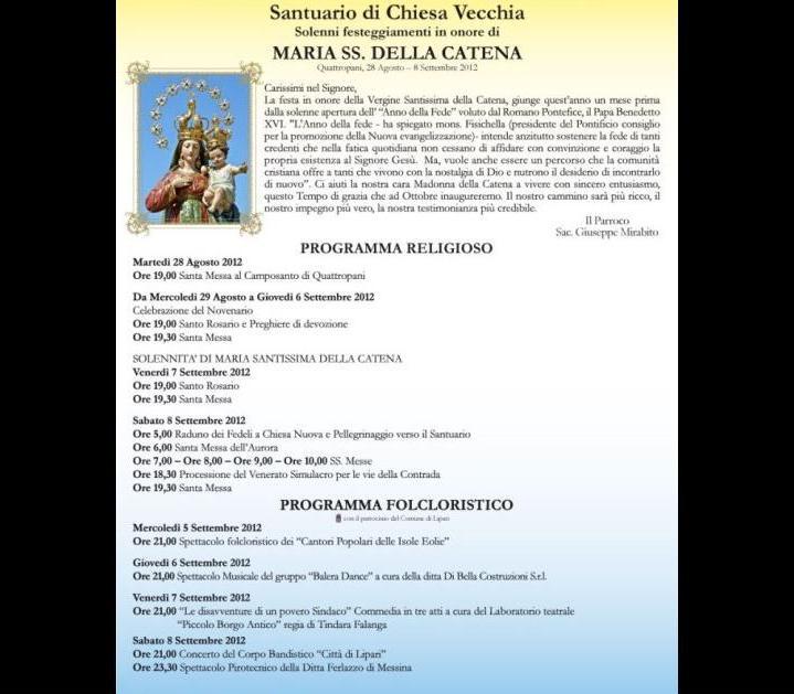 Madonna della Catena, il programma