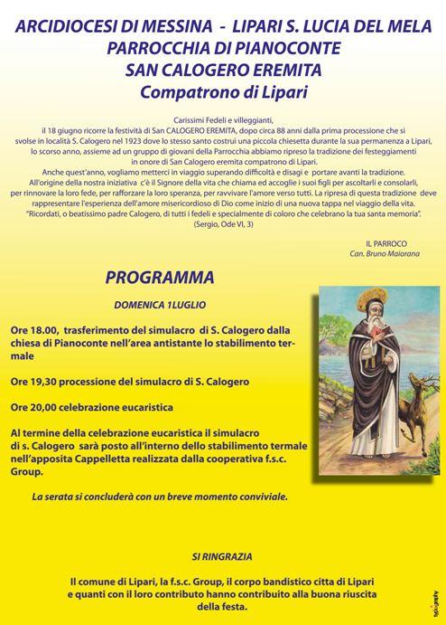 Domenica festa per San Calogero Eremita