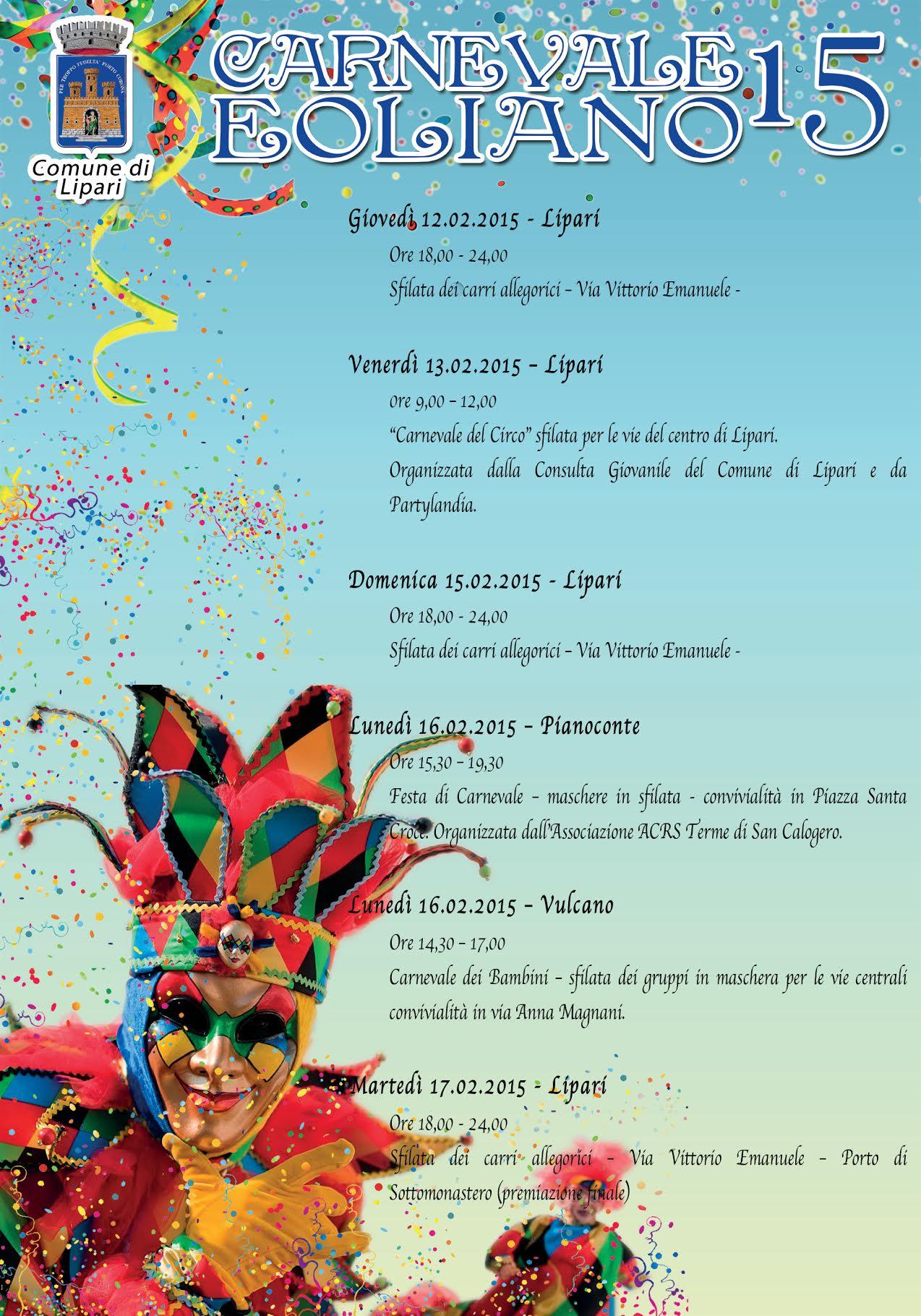 Carnevale eoliano 2015: tutto pronto per i festeggiamenti