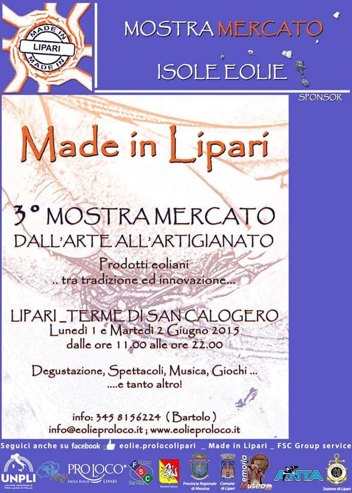 """""""Made in Lipari"""": 1 e 2 giugno 3° Mostra Mercato dall'Arte all'Artigianato"""