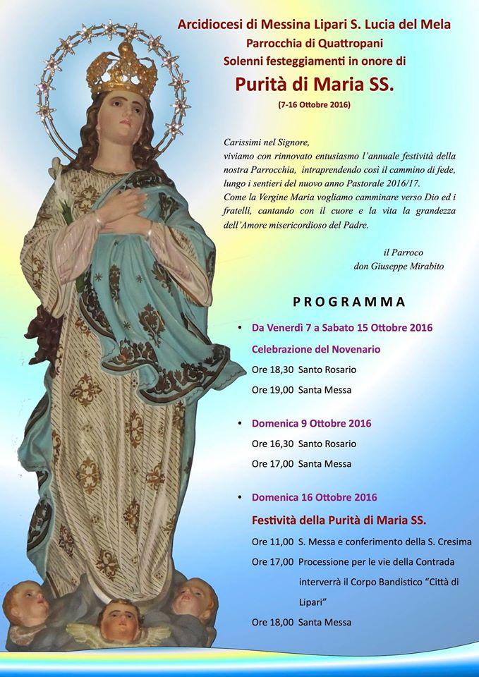 Le festività in onore della Purità di Maria SS.