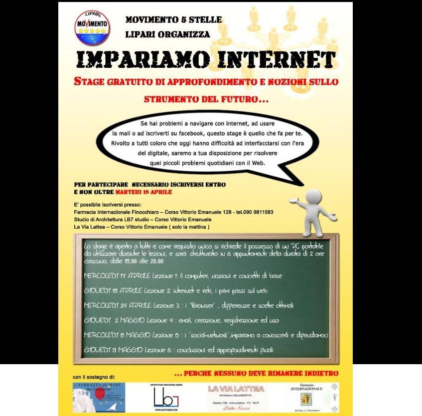 M5S Lipari promuove stage internet gratuito
