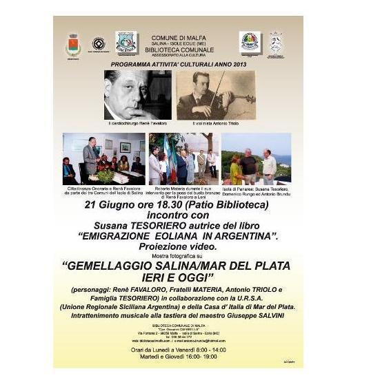 Malfa, iniziative tra Eolie e Mar de Plata