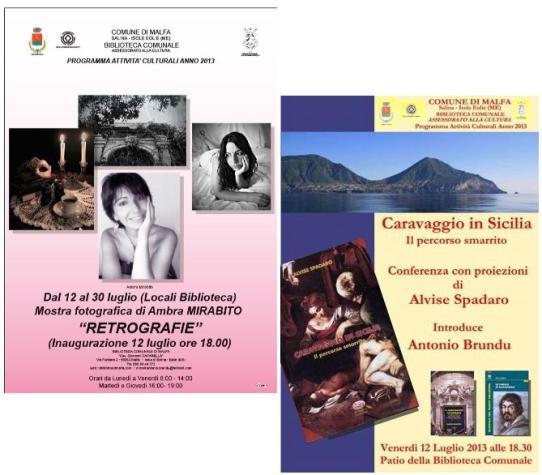 """Caravaggio in Sicilia e """"Retrografie"""" a Malfa"""