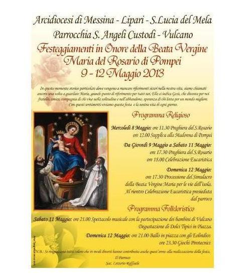 Vulcano, festa per la Madonna di Pompei