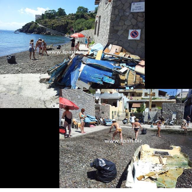 Portinente, i turisti si ripuliscono la spiaggetta