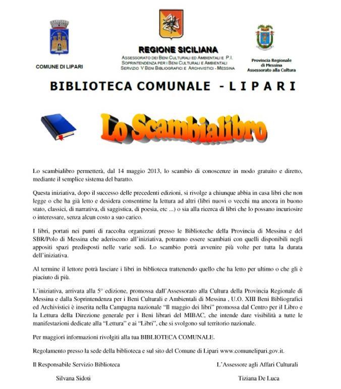 """""""Lo Scambialibro"""" alla biblioteca di Lipari"""